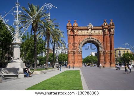 Arc de Triomf in Barcelona in a bright summer day view from Parc de la Ciutadella - stock photo