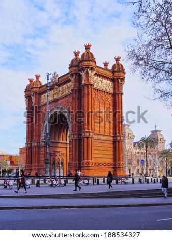 Arc de Triomf - Triumphal Arch in Barcelona, Catalonia, Spain - stock photo