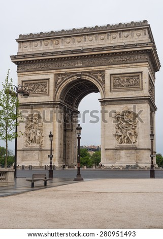 Arc de Triomphe (Arch of Triumph) in l'Etoile on Charles de Gaulle, Paris, France. - stock photo