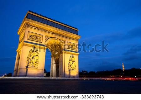 Arc de Triomphe at Night, Paris - stock photo
