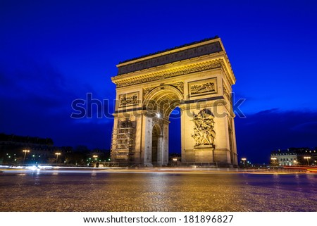 Arc de Triomphe at twilight - stock photo