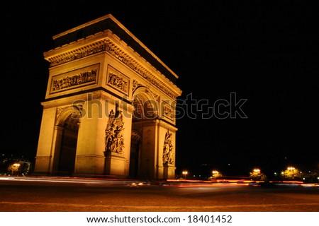 Arc de Triomphe by night, Paris (France) - stock photo