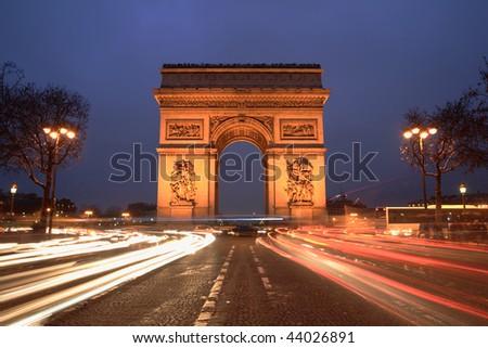 Arc de Triomphe & champs elysees, Paris, at night - stock photo