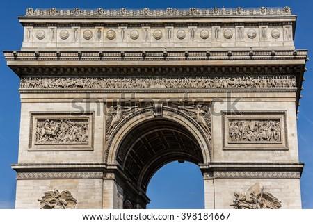 Arc de Triomphe de l'Etoile on Charles de Gaulle Place, Paris, France. Arc is one of the most famous monuments in Paris. - stock photo
