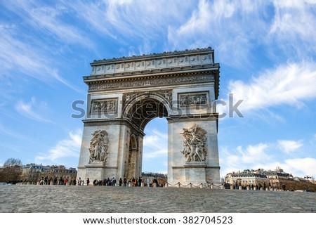Arc de Triomphe Paris city at sunset - Arch of Triumph - stock photo