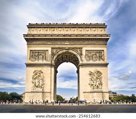 Arc de triomphe Paris, France at Sunset, with a light toning - stock photo