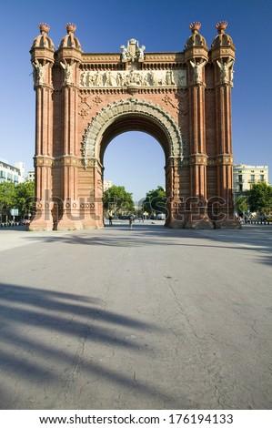 Arc de Triumf: L'Arc de Triumph, by Josep Vilaseca I Casanovas, in Barcelona, Spain was built in 1888 as part of the Universal Exposition - stock photo