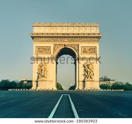 Arc de Triumph in Paris, France, front view - stock photo