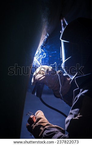 Arc welder at work.  - stock photo