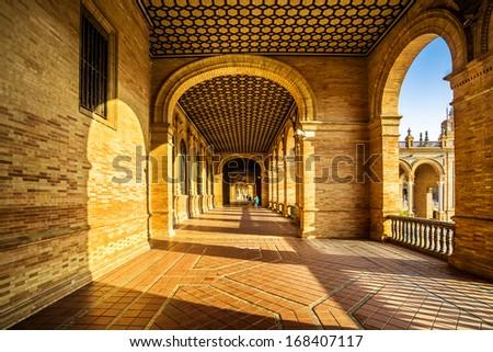 Arcades of the Spanish Square (Plaza de Espana) in Sevilla, Spain - stock photo