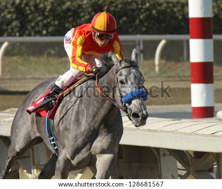 "ARCADIA, CA - FEB 16: Jockey Rafael Bejarano pilots ""Midnight Lucky""  to her first win at Santa Anita Park on Feb 16, 2013 in Arcadia, CA. - stock photo"