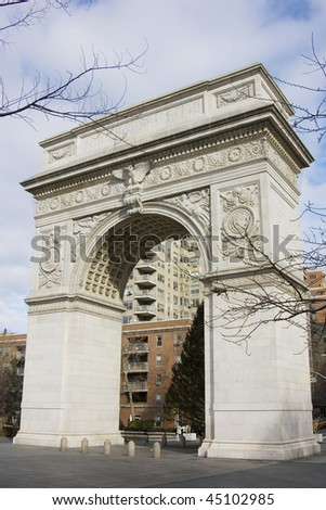 Arch at Washington square park in NYC - stock photo
