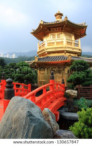 Arch Bridge and Pavilion in Nan Lian Garden, Hong Kong. - stock photo