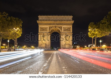 Arch de Triomphe and Champs-Elysees - stock photo