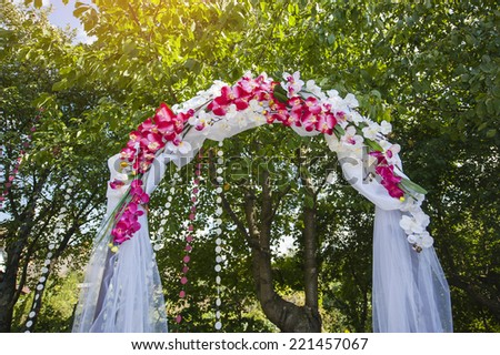 Arch for the wedding ceremony. Floristic composition in vintage style. - stock photo
