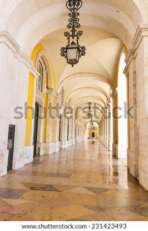 Arch gallery of Commerce square (Praca do Comercio) in Lisbon, Portugal - stock photo