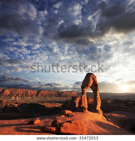 Arch in Arches National Park, Utah - stock photo