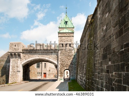 arch in the Fortifications Quebec City - stock photo