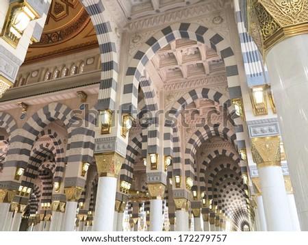Arch Islamic architecture in Mecca - stock photo
