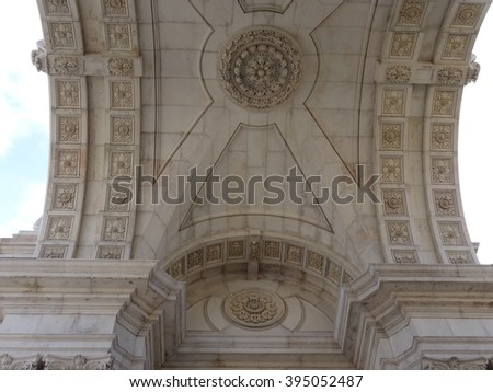 Arch of Augusta street in detail - Lisbon - Portugal - stock photo
