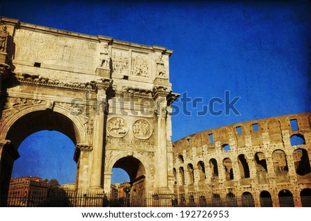 Arch of Constantine (Arco di Costantino), a triumphal arch in Rome, located between the Colosseum and the Palatine Hill. - stock photo