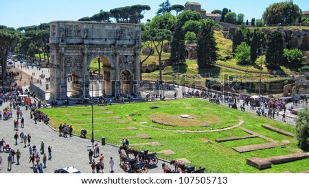 Arch of Constantine from Colosseum - Rome, Italy - stock photo