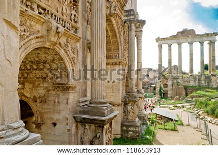 Arch of Emperor Septimius Severus in the Roman Forum in Rome, Italy - stock photo