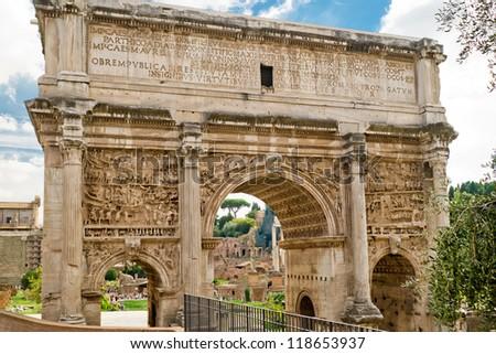 Arch of Emperor Septimius Severus in the Roman Forum, Rome, Italy - stock photo