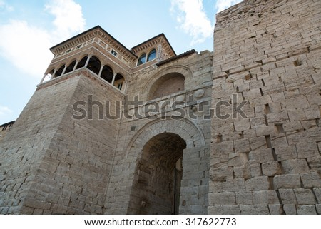 Arch of Etruscans (Augustus Arch) in Perugia, Umbria - stock photo