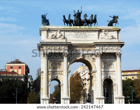 Arch of Peace (Arco della Pace) in Milan, Italy  - stock photo