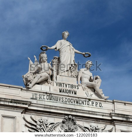 "Arch of ""Rua Augusta"" top statue detail, Lisbon - Portugal - stock photo"