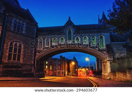 Arch of the Christ Church Cathedral in Dublin, Ireland at night - stock photo