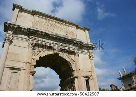 arch of titus in Forum Romanum in Rome, Italy - stock photo