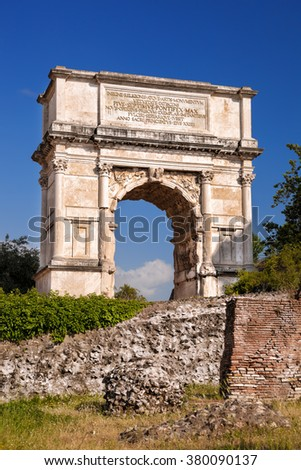 Arch of Titus on Roman Forum in Rome, Italy - stock photo