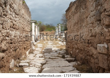 Archaeological site at Edessa city, Macedonia, Greece - stock photo