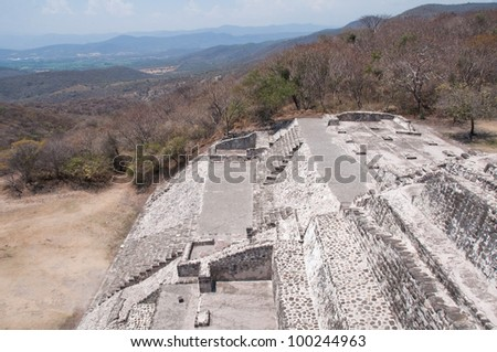 Archaeological site of Xochicalco (Mexico) - stock photo