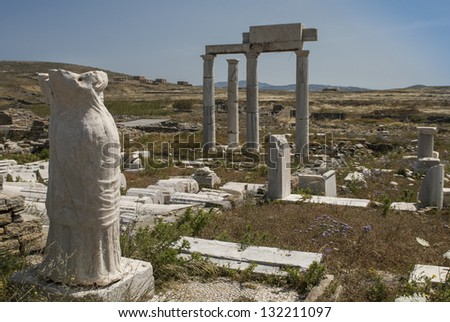 Archaeological site on island Delos, Greece - stock photo