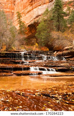 Archangel Falls on the left fork of the North Creek (Subway) trail, Zion National Park, Utah - stock photo