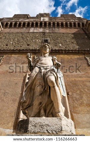 Archangel Michael statue by Raffaello da Montelupo, Castel Sant'Angelo, Rome - stock photo