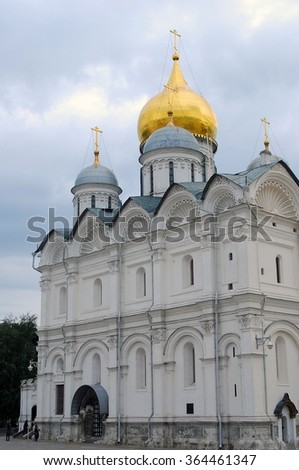 Archangels church. Moscow Kremlin, a popular touristic landmark. UNESCO World Heritage Site.  - stock photo