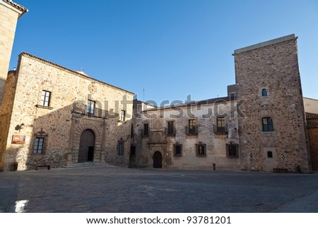 Archbishop's Palace and Casa de Ovando in Caceres, Spain. Its main facade, Renaissance style, is in the square of Saint Mari­a. - stock photo