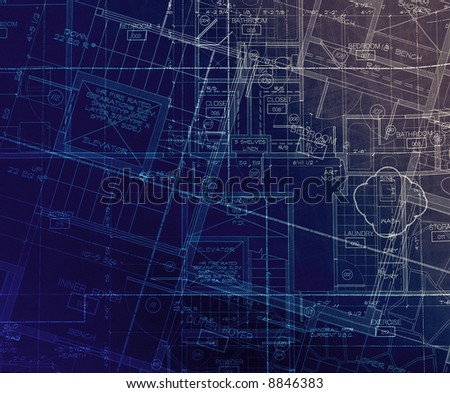 archecture plans  abstract blue - stock photo