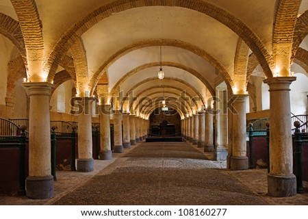 Arched interior of the 16th century Royal Stables in Cordoba, Andalusia, Spain. - stock photo