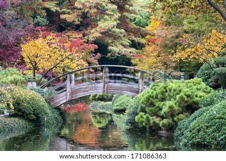 Arched wooden bridge accented by Texas fall colors - stock photo
