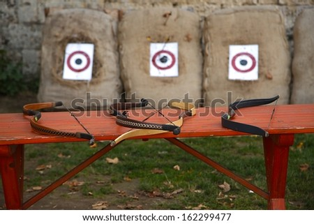 Archery competition with bows and arrows - stock photo
