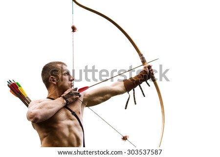 Archery. Young archer training with the bow - stock photo