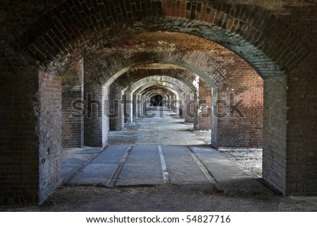 Arches in Fort Jefferson, Dry Tortugas National Park, Florida Keys - stock photo
