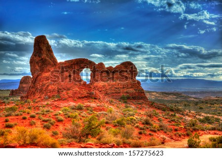 Arches National Park Turret Arch in Moab Utah USA - stock photo