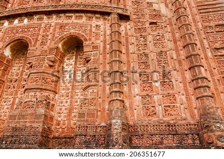Arches of  Jorbangla Temple, made of terracotta, Bishnupur , India - stock photo