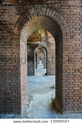 Arches to the ocean at Fort Jefferson at the Dry Tortugas National Park near Key West, Florida - stock photo